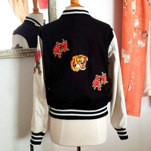 Last Kiss Tiger & Roses Letterman Jacket Large